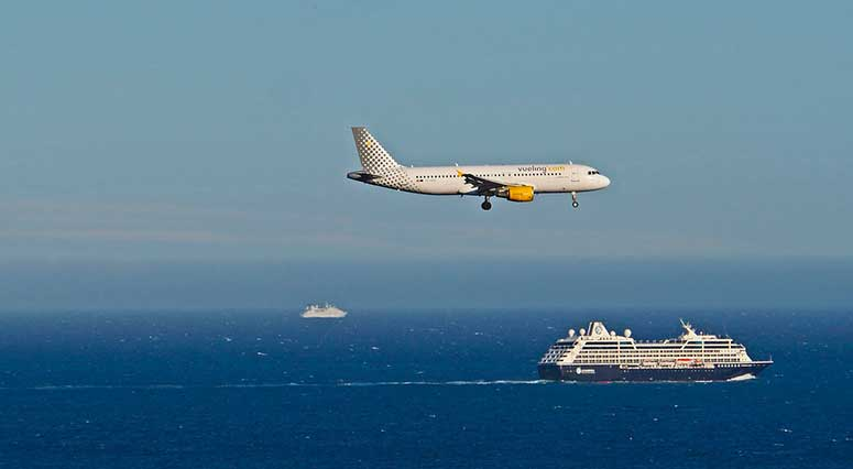 plane and ferry